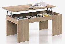 Table Basse à Plateau Relevable coloris chêne canadien - Dim : 100 x 50 x 42 cm