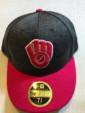 Milwaukee Brewers PINK MOTHERS DAY FITTED HAT LOW PROFILE New Era 59FIFTY  7 3/8
