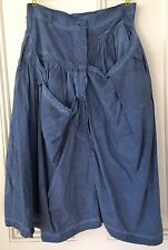 NEW RUNDHOLZ Blueberry Blue Gray Lagenlook Skirt Small / Med Cotton Dbl button