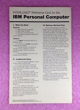 RARE VINTAGE INFOCOM  INTERLOGIC REFERENCE CARD FOR THE IBM PERSONAL COMPUTER