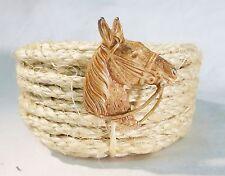 Vintage brass horse head pin brooch ranch western