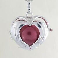 Klangkugel Herz aus Flügeln Anhänger Amulett Medaillon zum Öffnen versilbert neu