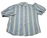 Robert Graham men's dress shirt sz XXL R&G brand blue and green striped euc 2XL