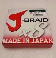 """Daiwa J-Braid Braided DARK GREEN Line 30lb 330yd .011"""" .28mm - JB8U30-300DG"""