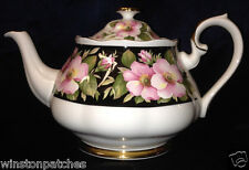 ROYAL ALBERT CHINA PROVINCIAL FLOWERS ALBERT ROSE TEAPOT PINK ROSES GOLD TRIM