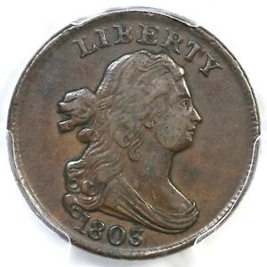 1803 C-1 PCGS XF 45 Draped Bust Half Cent Coin 1/2c