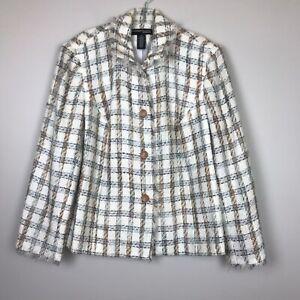 Norton Mcnaughton Blazer Jacket Women's Size 1X Cream Blue Taupe Plaid