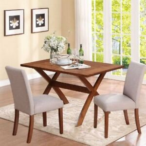 2 Linen Parsons Chairs ONLY Dark Pine Taupe gray Table Not Include