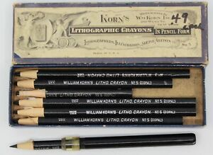 Vintage Wm. Korn's Lithographic Crayons No.5 & 3 Lithography Print Making Art
