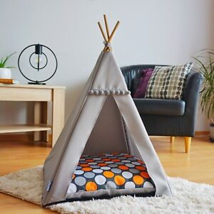 Dog waterproof teepee - Orange Dots, cat tent with non-slip base, dog house