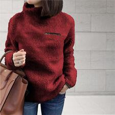 Ladies Fleece Fur Jacket Outerwear Tops Winter Warm Hoodie Fluffy Coat Women's