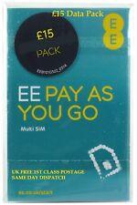 UK EE SIM CARD TRIPLE PAY AS YOU GO £15 BUNDLE 5GB DATA 500 MINS 4GEE