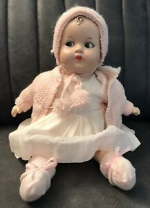 """Antique VTG 1920s RARE Ideal Flossie Flirt Baby Doll 13"""" beautiful moving eyes"""