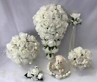 Wedding Flowers Ivory Rose Butterfly posy Bride Bridesmaid bouquets wand corsage