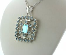 Sterling Silver 925 Rainbow Stone and Light Blue Topaz Large Square Pendant