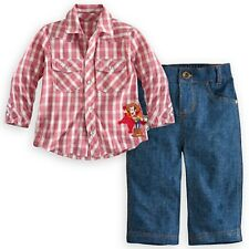 DISNEY STORE WOODY WOVEN SHIRT AND PANTS SET SIZE 3 YRS SNAP FRONT SHIRT NWT