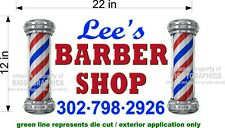 "CUSTOM NEW GRAPHIC 12"" x 22""  VINYL DECAL / STICKER FOR BARBER SHOP WINDOW WALL"