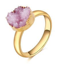 Charm Druzy Raw Rock Crystal Quartz Adjustable Stone Finger Ring Jewelry