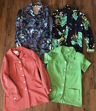 4 Vintage Clothing Lot Psych 70's 80's Dresses Top Jacket Red Floral Womens