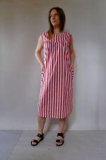 Vintage true 60s unused 20 3XL red stripes cotton plus size shift midi dress