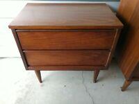 Mid Century Modern Walnut 9 Drawer Low Danish Dresser/Credenza & Side Table