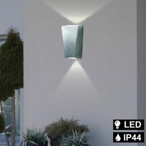LED Außen Haus Wand Leuchte Alu silber Garten Lampe Fassaden Up & Down Strahler