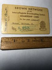 Vintage 1946-47 Brown Network Intercollegiate Broadcasting Brown University Card