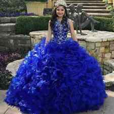 136e0203dd Sweet 15 16 Royal Blue Beaded Quinceanera Dress Ball Gowns Prom Debutante  Dress