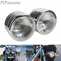 "Motorcycle 4"" Twin Headlight Round Double Dominator Dual Headlamp For Choppers"