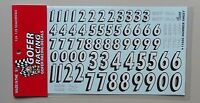 WHITE BLACK NUMBER SHEET 1:24 1:25 GOFER RACING DECALS CAR MODEL ACCESSORY 11046