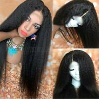 Pre Plucked Kinky Straight Lace Front Wig 100% Peruvian Human Hair 360 Yaki Wigs