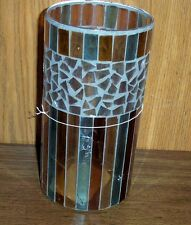 Home Interiors 12643 Homco Glass Candleholder Vase Glass Chips, Cracked Glass