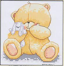 Forever Friends teddy bear 11CT pre-printed cross stitch kit, 20 x 20cm. CSK0013