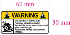 "WARNING DECAL ""MOTORBIKE"" ROADBIKE SIZE 60MM BY 30MM GLOSS LAMINATED"