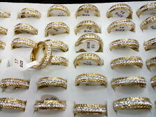 wholesale Lots 36pcs crystal fine lady plated 18k gold+2.0 stainless steel rings