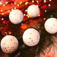 36X Glitter Snow Ball Baubles White Christmas Tree Decorations Xmas Ornament 4cm