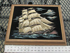 Vintage Collectible Nautical Ship Picture Painted on Velvet Wood Framed