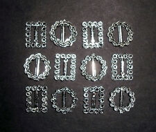 12 Plastic buckles doll sewing clothes belts crafts SILVER DIAMANTE 2 shape