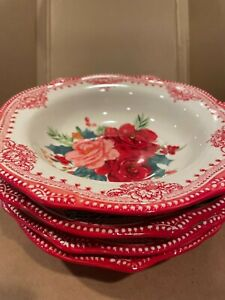 THE PIONEER WOMAN KITCHEN SET OF 4 ROSY TOILE LOW RIM 9 INCH STONEWARE BOWLS