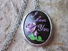 HAND PAINTED PURPLE ROSE WITH I LOVE CAMEO ANTIQUED SILVER PLATED LOCKET