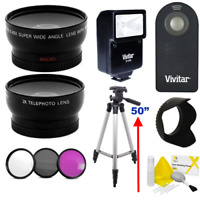 WIDE ANGLE LENS + ZOOM LENS + TRIPOD +FLASH KIT FOR CANON EOS REBEL T5 T6 T7 T3