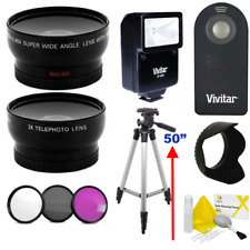 WIDE ANGLE LENS + ZOOM LENS + TRIPOD +FLASH KIT FOR CANON  REBEL SL1 SL2 XSI 6D