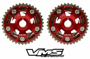 VMS HONDA ACURA B SERIES ENGINES ADJUSTABLE BILLET CAM GEARS PAIR QTY 2 RED