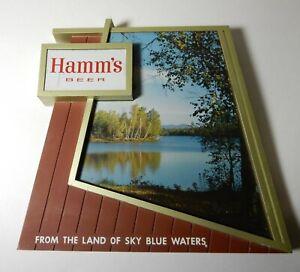 VINTAGE HAMM'S BEER LAKE SCENE LAND OF SKY BLUE WATERS PLASTIC WALL SIGN