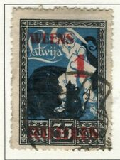LATVIA;   1920 early Independence issue surcharged fine used value