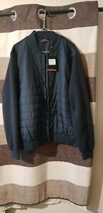 Pierre Cardin Mens Lightweight Navy Blue Quilted Bomber Jacket with Fleece XL