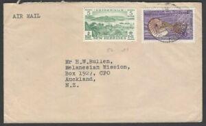 New Hebrides 1957 British 5c etc. on cover Villa to New Zealand SG 84 etc.