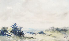 DUNCAN BRUCE - EDGE OF SUSSEX WEALD - WATERCOLOR - 1987 - FREE SHIP IN US