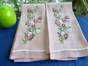 2 Vintage Millenium Pink Linen Bath Guest Towels Lovely Floral Hand Embroidery