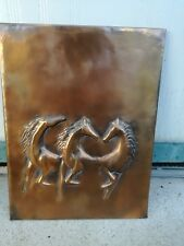 Painting Bas-Relief Copper Horse Slab Sculpture to Hang 40 CM